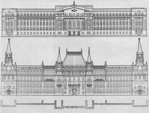 Фасада здания чертежи