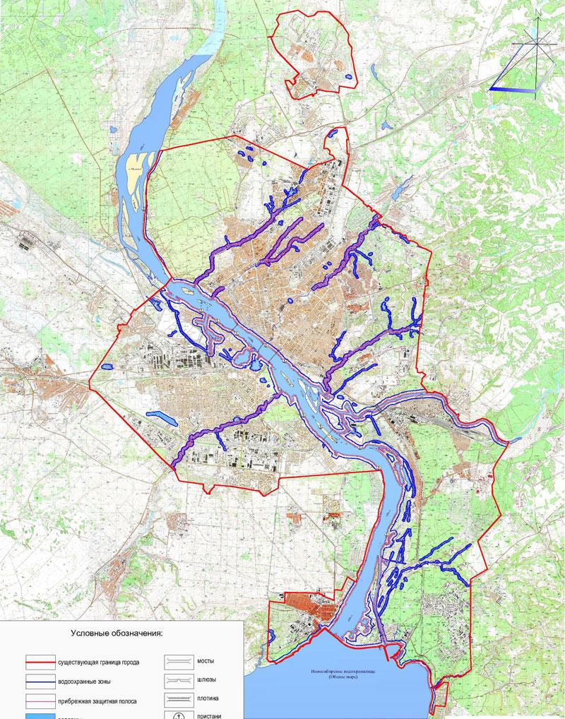 Приложение 2: Карта-схема водоохранных зон.  Существующее положение.