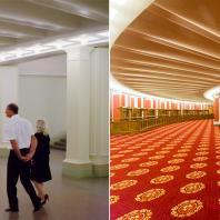 Реконструкция Новосибирского театра оперы и балета 2015. Фото Виктора Дмитриева (было), Александра Ощепкова справа (стало)